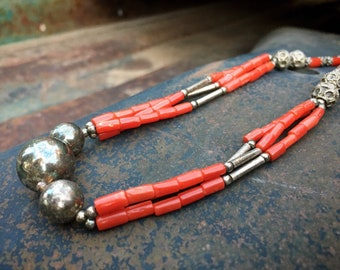 "Afghani Red Coral Choker Necklace 18"" with Sterling Silver Beads, Ethnic Tribal Tajik Jewelry"