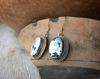 Smallish Oval White Turquoise Earrings for Women, Navajo Made Native America Indian Jewelry