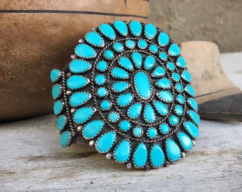 Signed Navajo Turquoise Cluster Cuff Bracelet for Women or Men, Vintage Native American Indian Jewelry