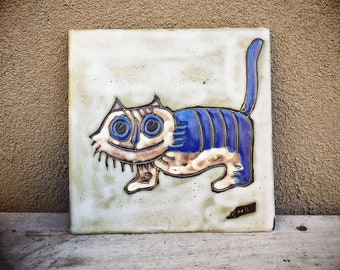 Vintage Ceramic Cat Tile Hot Plate Blue Decor, Southwestern Pottery Trivet, Teacher Gifts