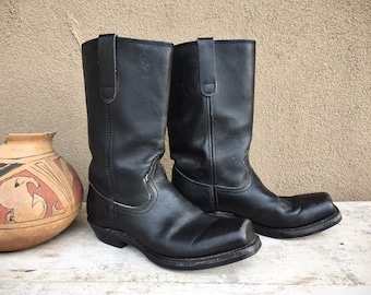 Vintage Black Leather Motorcycle Biker Boot Women's Size 8M (Estimated) Made in USA, Square Toe Women's Cowboy Boot