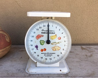 Vintage American Family Kitchen Scale White Painted Metal Body Plastic Tray No Cover on Face