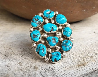 Large Signed Navajo Natural Turquoise Ring for Women Men Size 9, Native American Indian Jewelry