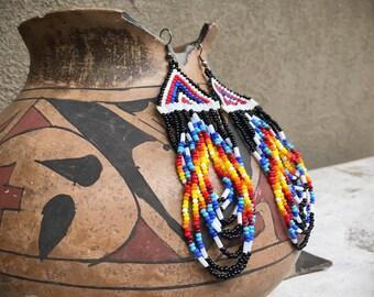 Vintage beaded hoop earrings large pink white black seed beads Southwestern bohemian jewelry