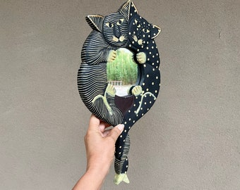 Vintage Painted Cat Handheld or Wall Mirror from Indonesia, Kitten Gifts, Folk Art Decoration