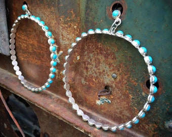 Huge Silver Turquoise Hoop Earrings Native American Indian Jewelry, Turquoise Jewelry