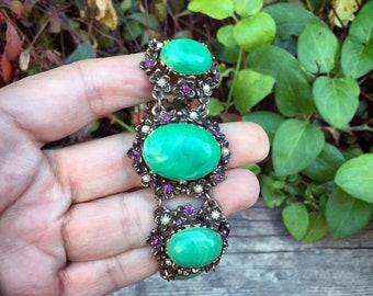 Vintage Heavy Link Bracelet Faux Jade Pearl Purple Rhinestone on Gold Tone Brass Metal, Estate Costume Jewelry
