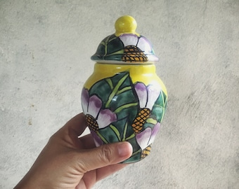 Small Talavera Pottery Lidded Jar, Ginger Jar Tibor, Yellow Purple Decor, Mexican Pottery