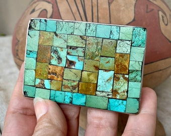 Native American Mosaic Inlay Turquoise Belt Buckle for Women or Men, Southwestern Rodeo Accessory