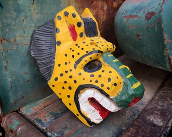 Carved Painted Mexican Wooden Mask of Jaguar Tigre, Mexico Folk Art Wall Hanging, Southwestern Home