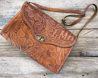 Vintage Mexican Purse Tooled Leather Bag Western Purse with Initials, Brown Leather Bag Cowgirl