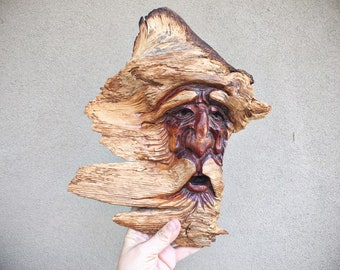 Vintage Burl Wood Carving Old Man Winter Wind Sculpture Wall Hanging, Natural Decor, Outsider Art, Boreas Anemoi