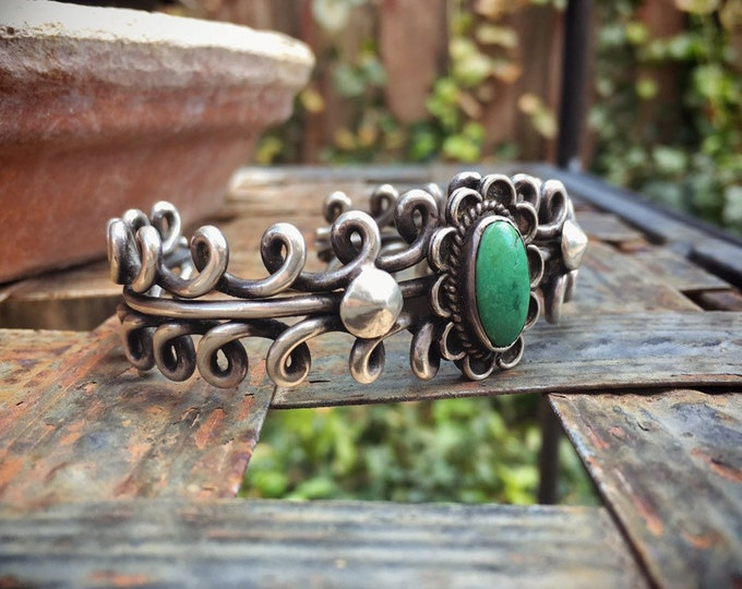 Featured listing image: Old Pawn Heavy Twist Wire Sterling Silver Turquoise Bracelet for Women, Vintage Native America Indian Jewelry