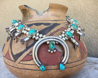 Vintage Sterling Silver Natural Turquoise Squash Blossom Necklace, Navajo Native American Indian
