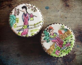Vintage China Porcelain Shard Box, Pill Box, Snuff Box, Stash Box, Trinket Box Gift for Mom
