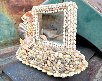 Vintage Seashell Encrusted Small Mirror for Tabletop, Ocean Cottage Decor Bedroom Vanity, Shell Mosaic Victorian Style Art,