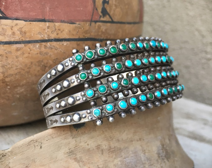 Featured listing image: 1930s Four Row Zuni Snake Eye Turquoise Cuff Bracelet, Native American Indian Jewelry, Old Pawn