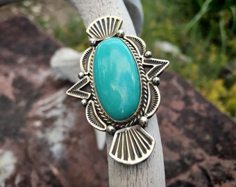 Navajo Michael & Rose Calladitto Turquoise Ring Size 6 for Women, Native American Indian Jewelry, Birthday Gift for Sister or Mom