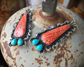 36g Red Spiny Oyster and Turquoise Earrings for Women, Navajo Native American Indian Jewelry