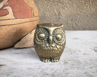 "Small 2-1/4"" Vintage Brass Owl Figurine for Desk Home Office Decor, Woodland Animal Gift"