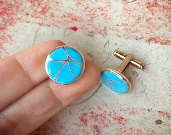 Small Turquoise Cuff Links for Men Signed  Native American Indian Southwestern Cuff Links, Sterling Silver Accessories, Dad Gift for Husband