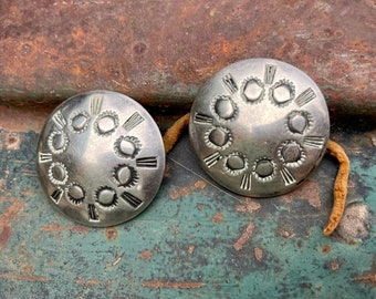 Set of Two Vintage Stamped Sterling Silver Concho Buttons, Navajo Native American Indian Accessory