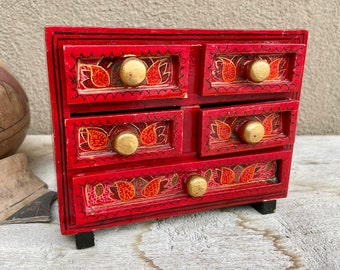 Vintage Red Lacquered Wood Miniature Chest of Drawers Jewelry Box, Chinoiserie Style Cottage