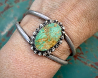 1960s Green Matrixed Turquoise Silver Wire Bracelet Small Wrist, Navajo Native American Jewelry