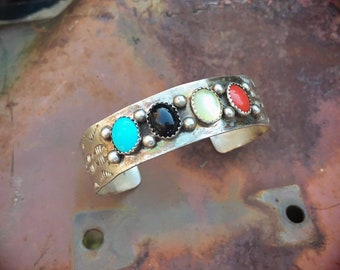 Stamped Sterling Silver Vintage Turquoise Black Onyx Coral Mother of Pearl Cuff Bracelet