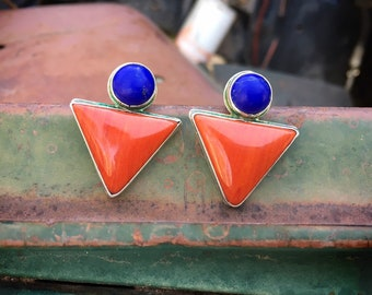 Lapis Lazuli Spiny Oyster Modernist Post Earrings for Women Short Hair, Signed Navajo Native American Indian Jewelry, Mothers Day Gift Ideas