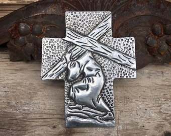Vintage Mexican Pewter Wall Cross Jesus Christ Carrying the Holy Cross, Catholic Gifts, Rustic Southwestern Home