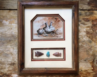 New Mexico Cherokee Laverne Elliott Framed Print with Real Arrowheads and Turquoise Artifacts, Native American Indian Art