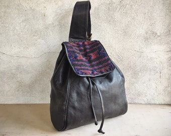Vintage Black Leather Beaded Single Strap Backpack with Pouch on Front Strap, Festival Tote