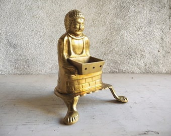 Brass Buddha Incense Burner Figurine, Good Luck Talisman, Buddha Gifts, Zen Decor, Buddhist Altar