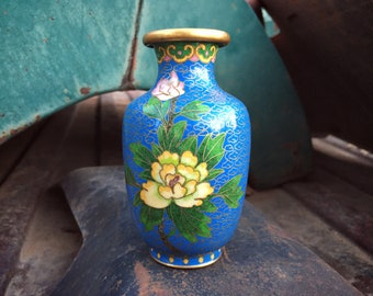 Miniature Chinese Cloisonné Vase Blue with Yellow Floral Design, Enamel Copper, Chinoiserie Decor