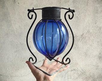 Cobalt Blue Glass Suncatcher Mexican Decor Caged Glass in Metal Hanger. Rustic Home Decor