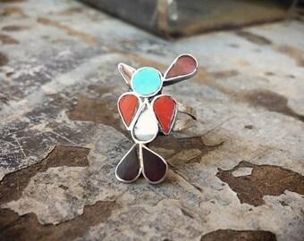 1970s Inlaid Coral Turquoise Ring Peyote Bird Size 6, Zuni Native American Indian Jewelry