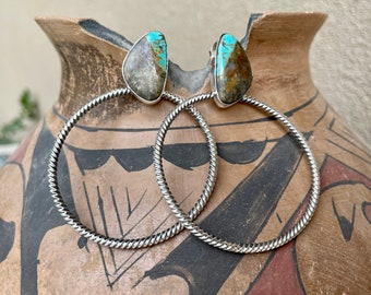 Turquoise Sterling Silver Hoop Earrings for Women, Navajo Native American Indian Jewelry Southwestern