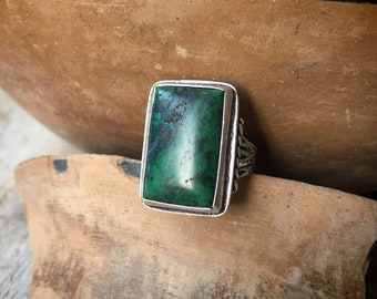 1940s Green Turquoise Ring for Men Size 6.75, Southwestern Vintage Native American Indian Jewelry