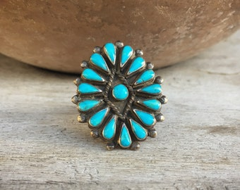Native American Indian Ring for Women Vintage Turquoise Navajo Jewelry, Old Pawn Real Turquoise