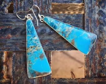 Slab Turquoise Earrings for Women, Native American Indian Jewelry Santo Domingo Pueblo