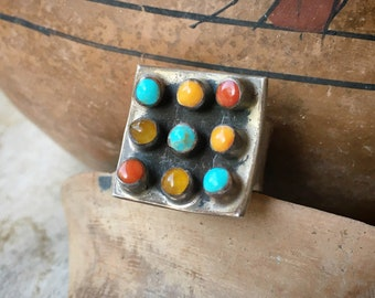1930s Heavy Mexican Modernist Sterling Silver Multi Color Ring for Women Size 5.75, Taxco Jewelry