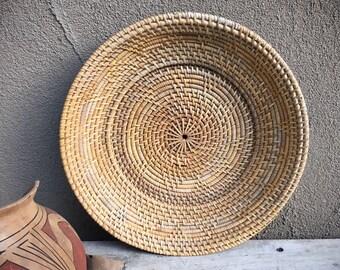 Shallow Basket Plate Bohemian Decor, Primitive Decor, Coiled Pencil Reed Wove Basket Wall Decor