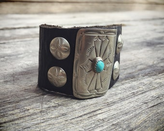 Small Vintage Ketoh Bow Guard Turquoise Silver Leather Wrist Band Bracelet for Women or Men