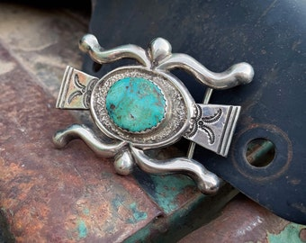 Navajo Dine Wilfred B. Henry Sterling Silver and Natural Turquoise Belt Buckle for Women Men Unisex