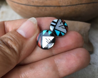 Small Turquoise Multi Stone Channel Inlay Post Earrings, Vintage Native American Indian Style