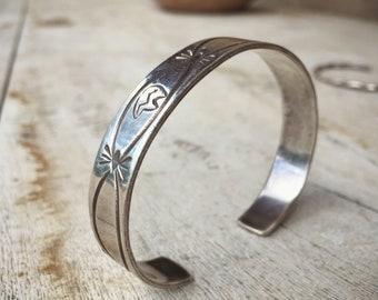 Vintage Silver Cuff Bracelet Buffalo Jewelry Native American Cuff, Navajo Jewelry