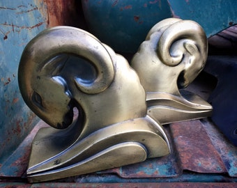1930s Art Deco Ram's Head Bookends by Cornell Foundry Brass Finish, Vintage Library, Men's Gift