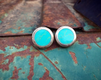 Simple Round Turquoise Inlay Taxco Sterling Silver Post Earrings, Vintage Mexican Jewelry