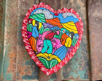 Small Guerrero Mexican Pottery Heart Shaped Trinket Box Lidded Container, Colorful Southwest Decor